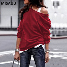 MISAUU Female Jumper Sweatshirt Sexy Off Shoulder Hoodies Top Autumn Winter Crew Neck Pullovers Tracksuit Ladies Tops Plus Size plus open shoulder sweatshirt
