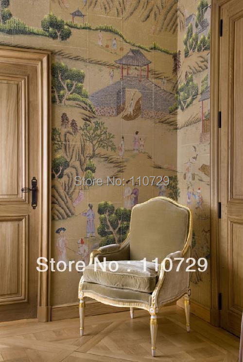 Home Decoration material Hand painted silk wallpaper painting rural community many pictures optional iarts aha072962 hand painted thick texture of knife painting trees oil painting red 60 x 40cm