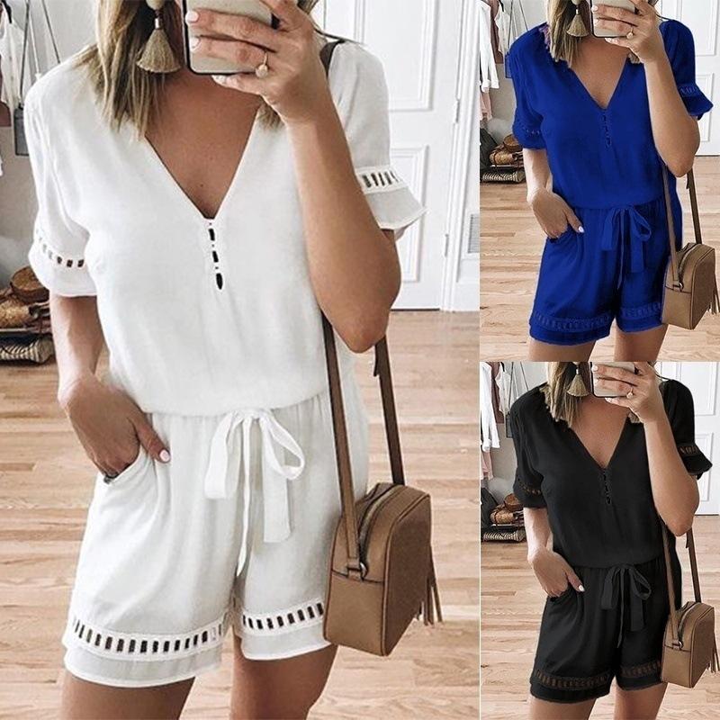 Plus Size Women Rompers Solid White Jumpsuit Summer Short Sleeve Overalls V Neck Jumpsuits Casual Drawstring Playsuit XL 4XL 5XL