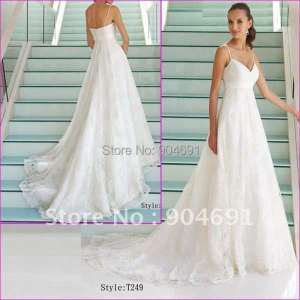 Exquisite Wedding Dress Double Straps Empire Waist pregnant Formal ...