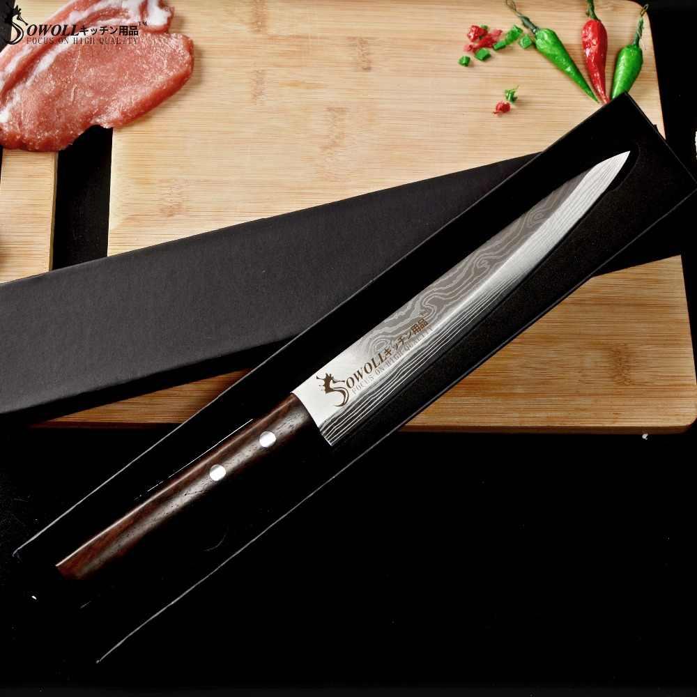 Sowoll 8 cal Sashimi nóż ze stali nierdzewnej darmowa pokrywa ostre ostrze wysokiej węgla Sushi ryby mięso łosoś noże narzędzia kuchenne
