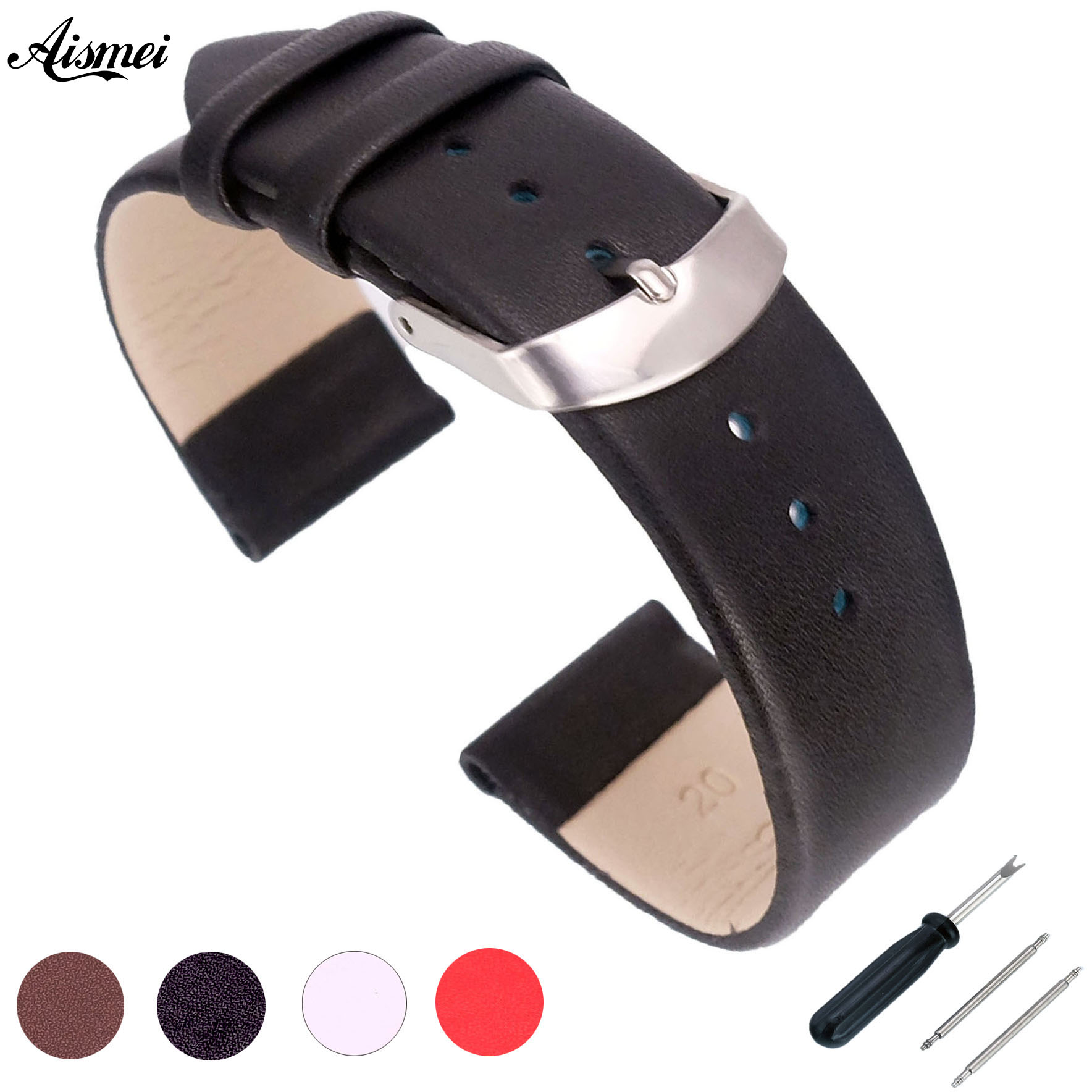 2018 Watch Accessories Pin buckle Watch Bracelet Belt Soft Genuine Leather Watch Band Watch Strap 12 14 16 18 20 22mm Watchbands maikes hq 16 18 20 22 24 mm genuine alligator leather strap watch band brown with pin buckle men watchbands bracelet accessories