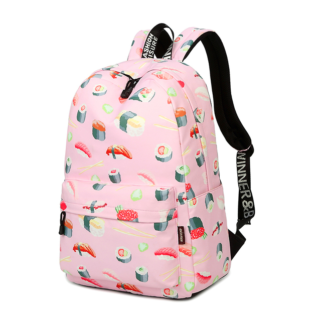 4ddd4d2040f2 Waterproof Fashion Sushi Print School Backpack with 15.6