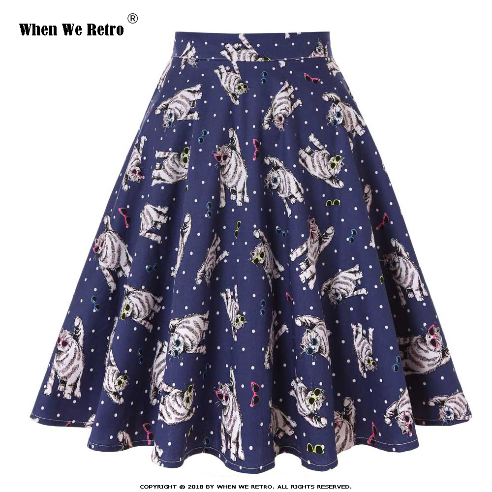 When We Retro Skirts Womens 2019 Sexy Floral Print Short Skirt High Waist Steampunk Large Swing Vintage Skirt Plus Size VD0020