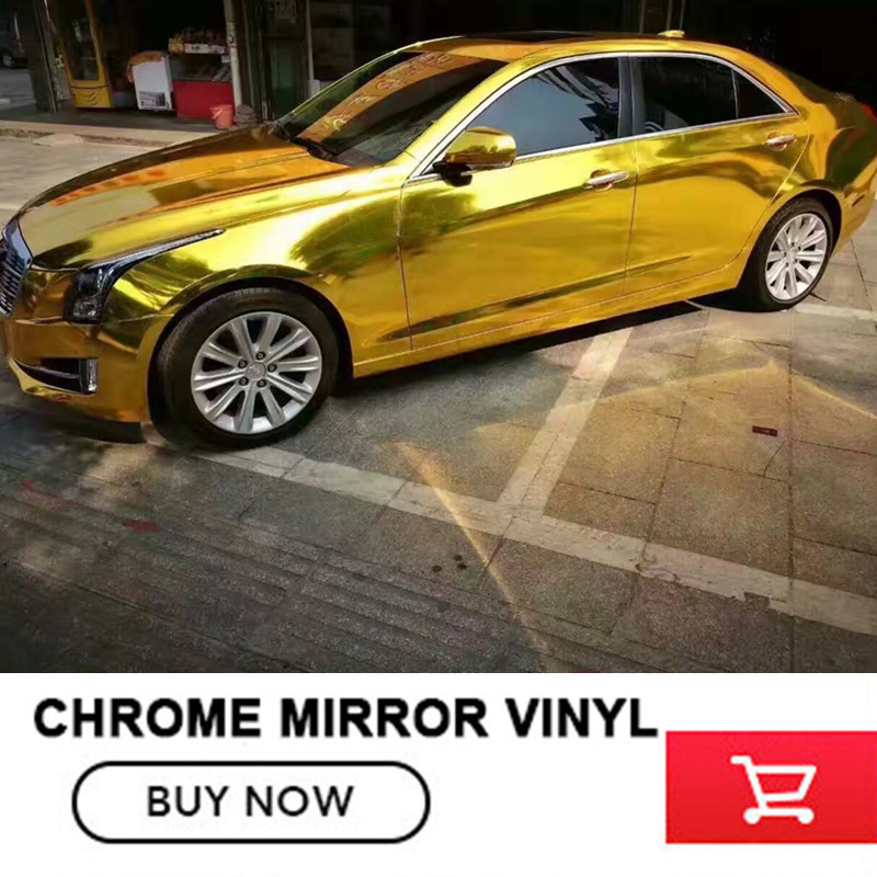 Gold Chrome Mirror Vinyl with Bubble Free Air Release DIY Wrap Sheet Film Car Sticker Decal Car Styling Size:20m X152CM 30cmx100cm car styling matt brushed car wrap vinyl film sheet bubble free air release motorcycle automobiles car stickers decal