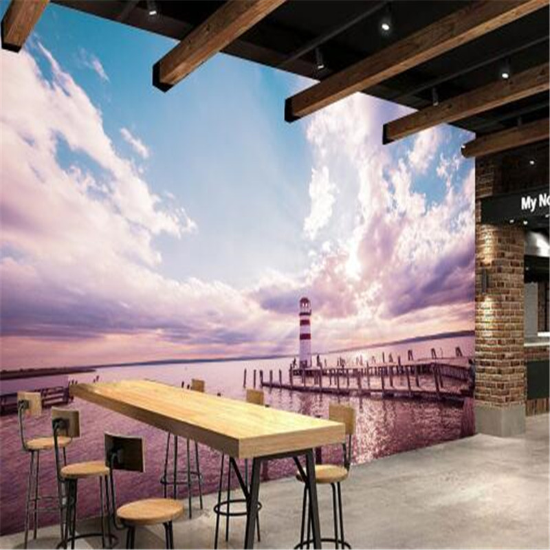 Hotel Custom Mural 3D Purple Landscape Wallpapers for Walls 3D Ocean Lighthouse Trestle Wall Covering Living Room Home Decor hotel harmony 3 прага