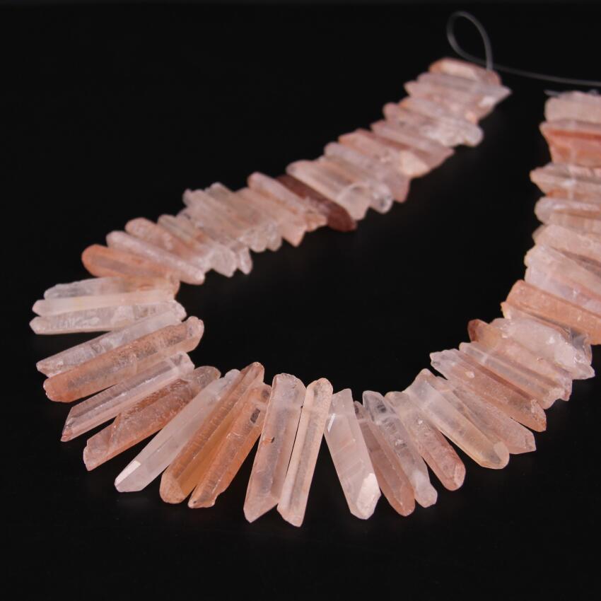 Ca. 60 stks/strand van Top Geboord Natuurlijke Ruwe Roze Quartz Crystal Point Hanger Kralen, Bergkristal Punt losse Kralen Sieraden