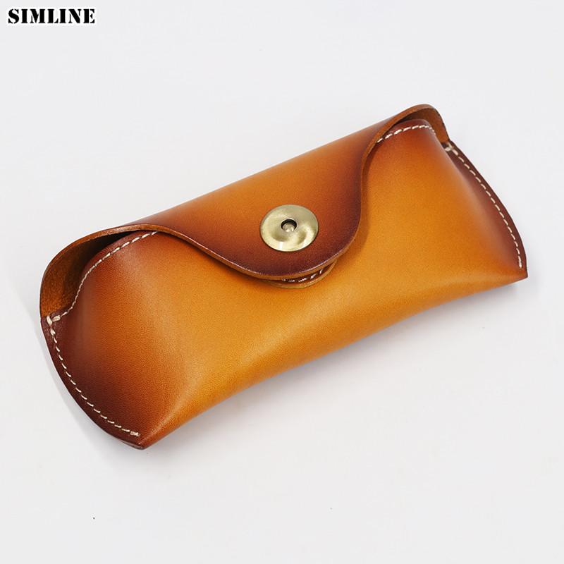 Genuine Leather Eye Glasses Case Vintage Handmade Hard Eyewear Accessories Sunglasses Cases Luxury Spectacles Box Bag Men Women acetate prescription glasses frame men oliver women round spectacles vintage people johnny depp full optical eyeglasses eyewear