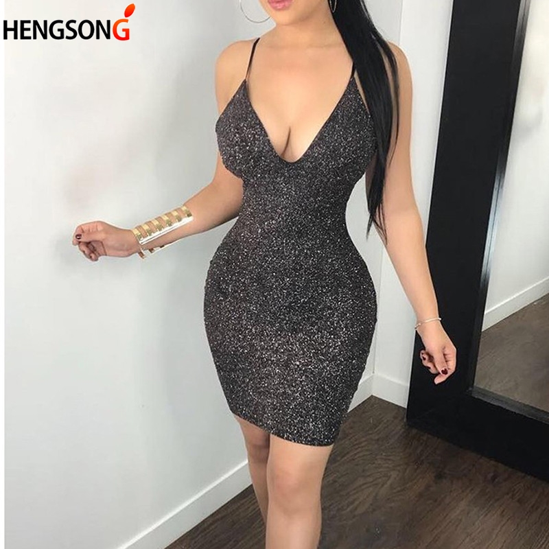 Sexy Sequin Shiny Dress Women Shiny Deep V Neck Club Wear Bling Dress Adjustable Strap Mini Party Dresses Vestidos