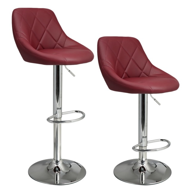 Homdox 2pcs Synthetic Adjustable Swivel Bar Stool Stainless Steel Pneumatic  Stent Chair 3 Colors N50