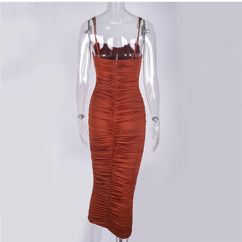 Image 5 - NewAsia 2 Layers Summer Dress Women Pleated Long Dress Sexy Spaghetti Straps Ruched Party Dress Brown Vestidos Robe Femme 2019-in Dresses from Women's Clothing