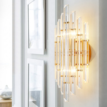 Modern European Model Room Lamp Crystal Lamp Designer Creative Personality Bedroom Bedside Background Aisle led Wall Lamp