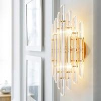 Modern European Model Room Lamp Crystal Lamp Designer Creative Personality Bedroom Bedside Background Aisle led Wall Lamp