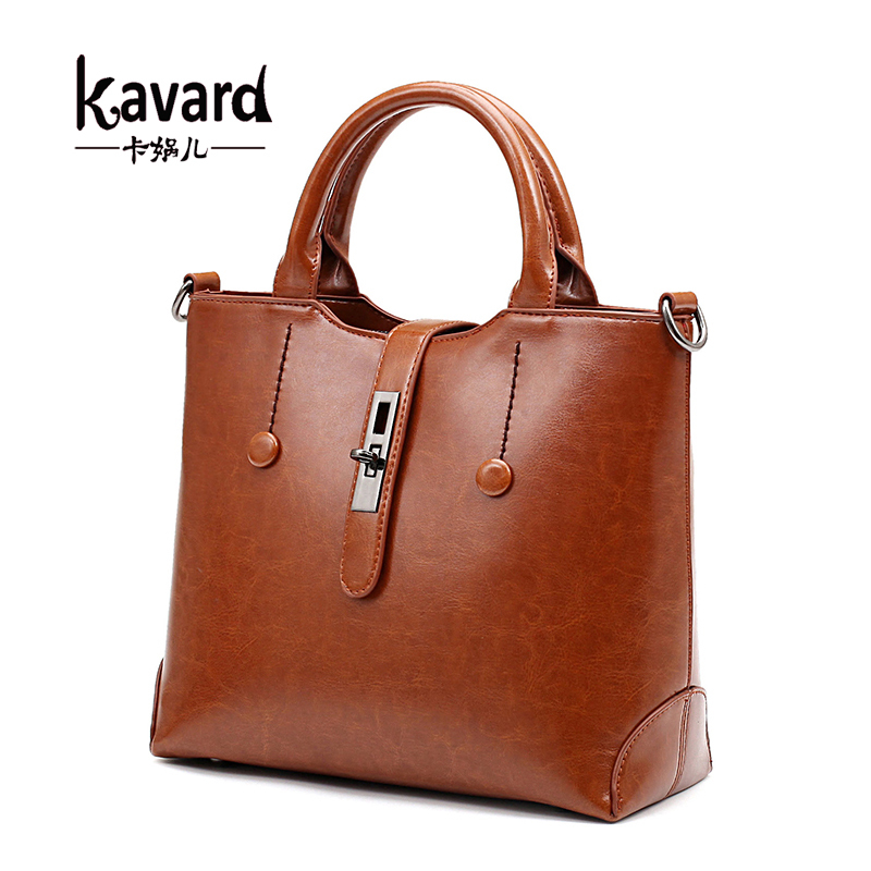 Luxury Brand Retro Women HandbagsHigh Quality PU Leather Bags Brown  Women Shoul