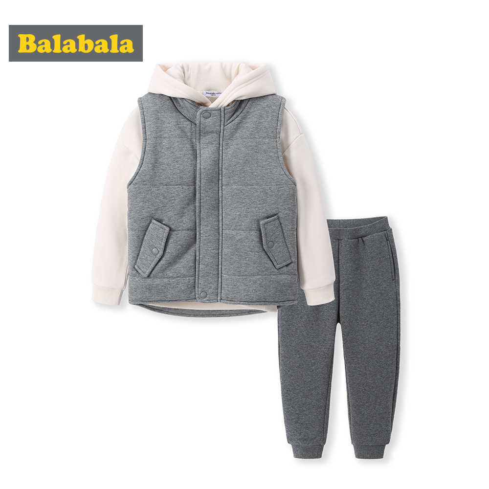 Balabala 2018 Autumn Winter Fashion Baby Boy Hoodies clothing set Toddler Plaid Hooded Tops Long Pants Outfits Set Newborn Kids