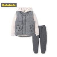 Balabala 2018 秋冬ファッションベビー服セット幼児格子縞のフード付きトップス衣装セット新生児