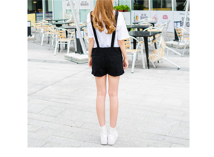 2018 summer large size women's black thin strap shorts fat mm cuff loose Korean plate stretch denim shorts (8)
