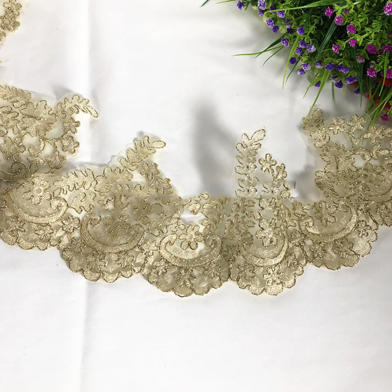 2 5Yards Vintage Embroidered Lace Trim Golden Lace Ribbon Wedding Applique Venise Sashes Lace Accessories DIY Sewing Craft in Lace from Home Garden