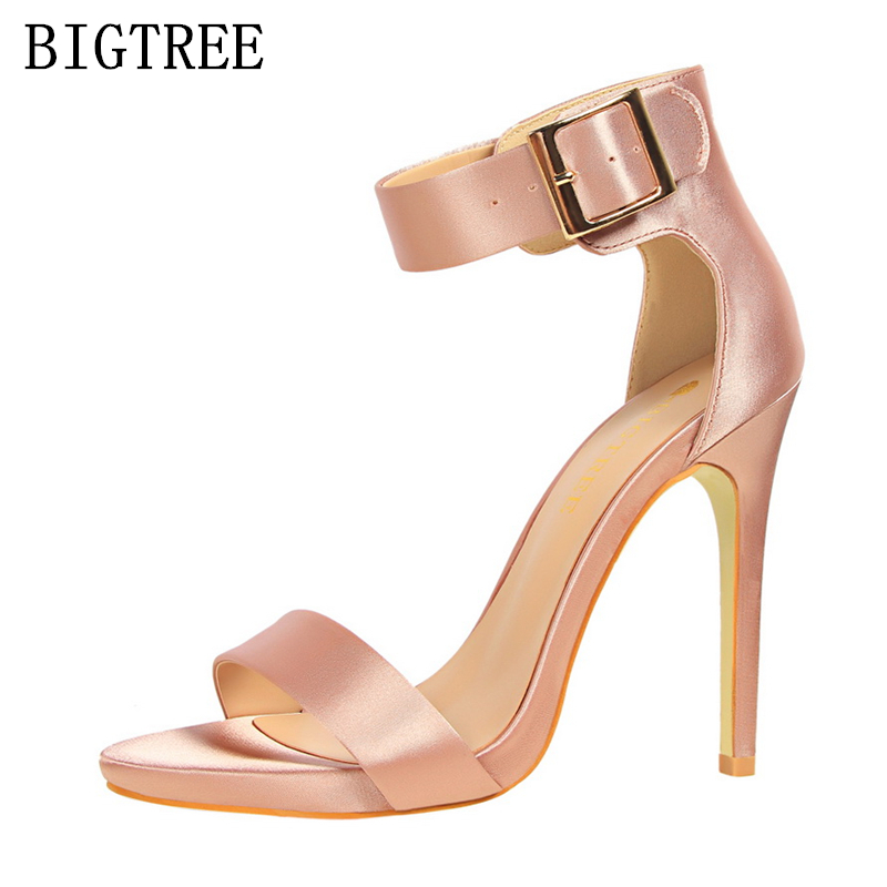 luxury brand silk mary janes bigtree shoes woman chaussures femme ete 2017 sexy Elegant high heels sandals women summer pumps