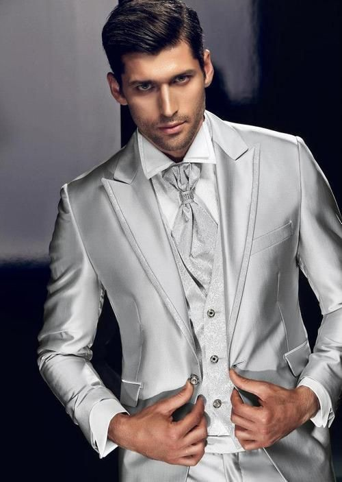 Latest Coat Pant Designs Italian Sliver Satin Men Suit Slim Fit Tuxedo 3 Piece Custom Classic Groom Prom Blazer Terno Masculino