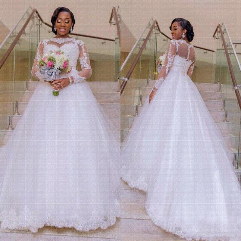 African Illusion Wedding Dress 2019 Backless Wedding Gowns Custom made Vestido De Noiva