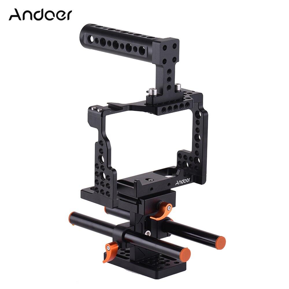 Andoer กล้อง + ที่จับด้านบน + 15 มม.Baseplate ชุดวิดีโอภาพยนตร์ทำ Stabilizer สำหรับ Sony A7II /A7III/A7SII/A7M3/A7RII-ใน โครงใส่กล้อง จาก อุปกรณ์อิเล็กทรอนิกส์ บน title=