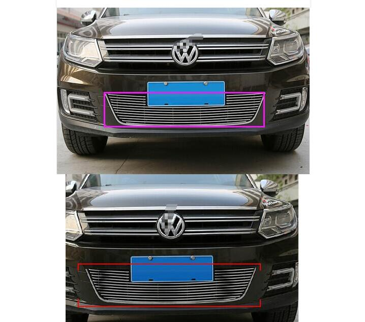 For Vw Tiguan 2010 2011 2012 2013 2014 2015 Metal 1Set Car Auto Accessory Front Grille Trim Racing Round Trim for subaru outback 2010 2011 2012 2013 grill grille front bottom racing cover trim high quality new aluminum alloy
