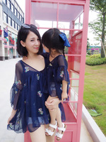 Mother Daughter Matching Dresses Mom Baby Girl Summer Fashion Floral Half Sleeve Chiffon Dress Blouse Family