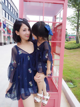 ФОТО mother daughter matching dresses mom baby girl summer fashion floral half sleeve chiffon dress blouse family outfits