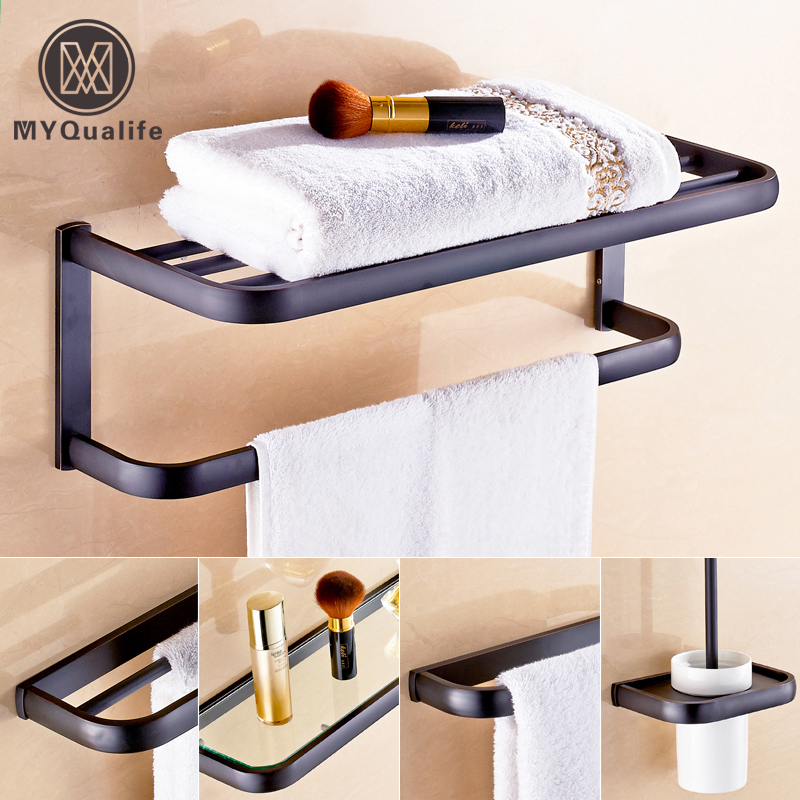 Oil Rubbed Bronze Black Bathroom Accessory Wall Mounted Toilet /toothbrush Holder Towel Rack Bar Storage Shelf bathroom accessory fitting black oil rubbed bronze wall mounted bathroom towel racks towel bar rack shelf holder aba066