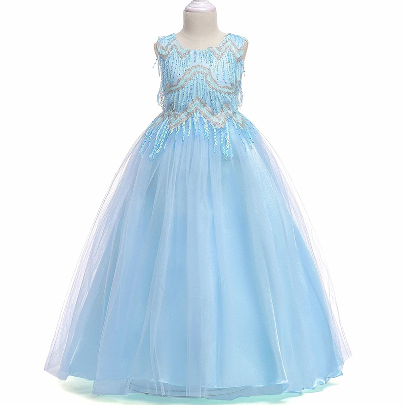 Summer baby Clothes Girls floral Princess Party Dresses Wedding birthday Sleeveless long Kids tutu dress Children Clothing mottelee girls princess dress blue kids party tutu dresses birthday summer baby outfits floral toddler frock children clothing