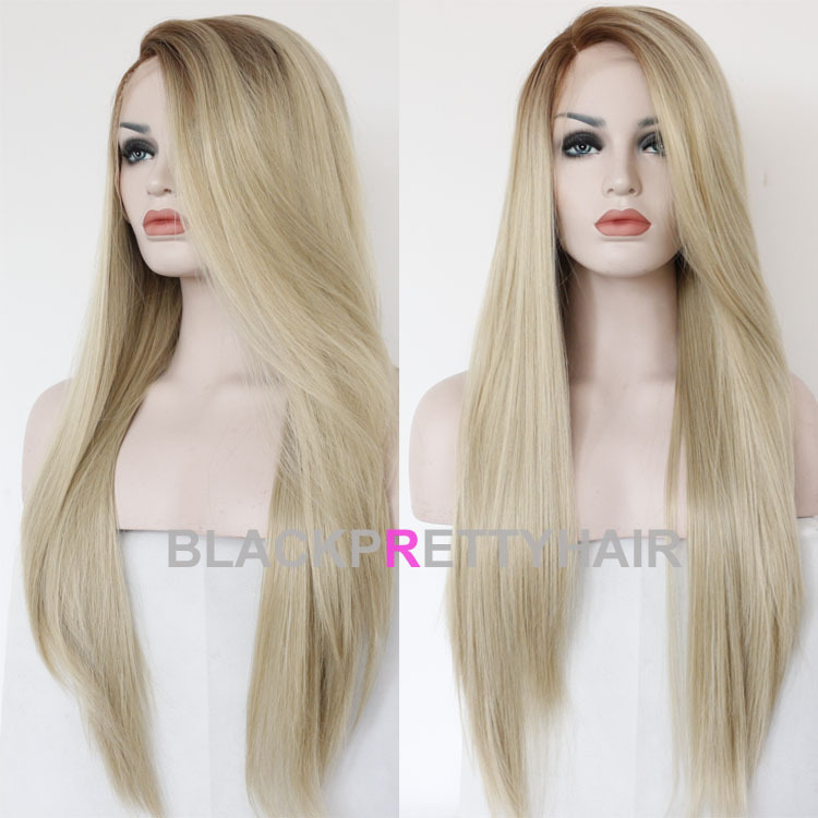 Fashion Long Ombre Blonde Straight Hair Wig Dark Root