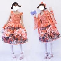 sweet lolita dress cute printing retro fly sleeve bowknot victorian dress kawaii girl gothic lolita gothic dress lolita jsk loli