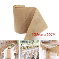 10Mx 30CM Natural Jute Burlap Ribbon Roll Burlap Table Runners Wedding Party Chair Yarn Cloth Bands Vintage Home Decorations