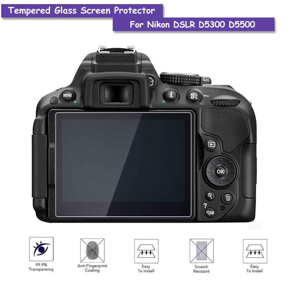 9H Tempered Glass LCD Screen Protector Shield Film for Nikon DSLR D5300 D5500 Camera Accessories