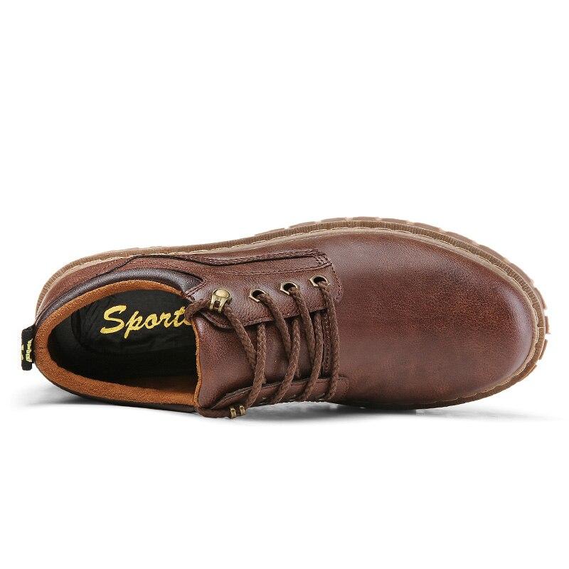 nero Lace Shoes Luxury antiscivolo Classic marrone marrone Martin Leather lavoro Up Men Casual scuro Stivali Fashion Brand Vintage Surom confortevole maschio chiaro xTAqSS