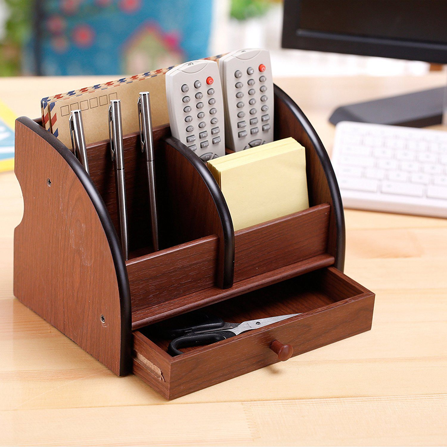 5-Compartment Luxury Brown Wood Office Desktop Organizer / Letter Sorter With Drawer
