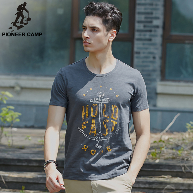 Пионерский Лагерь бамбука хлопка футболки мужские якорь 100% хлопка майка удобная и дышащий о-образным вырезом футболки fit 677055