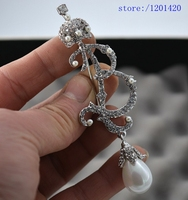 2016 New Customize Letter Brooch Women Silver Crown Brooch Pin Pearl Rhinestone Crystal Fashion Jewelry Gift