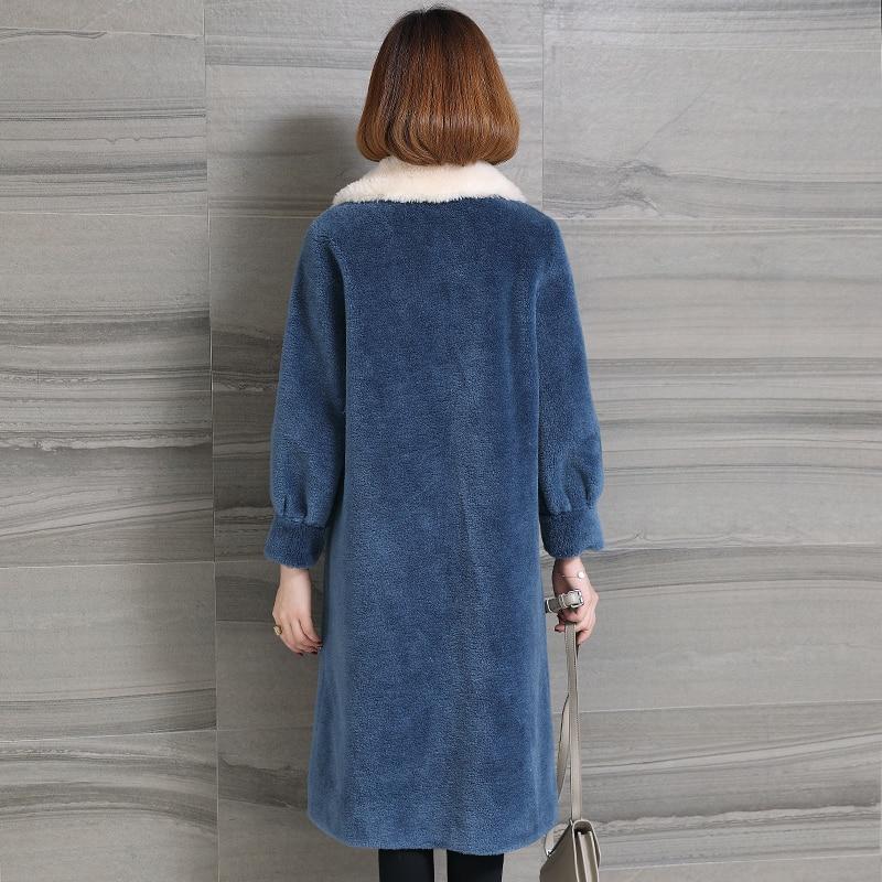 Femme Manteau Blue 2018 Hiver Moutons Vraie Tonte Vêtements Des Coréenne Femmes Veste Fourrure Ayunsue Laine Long Kj966 PkXiZu