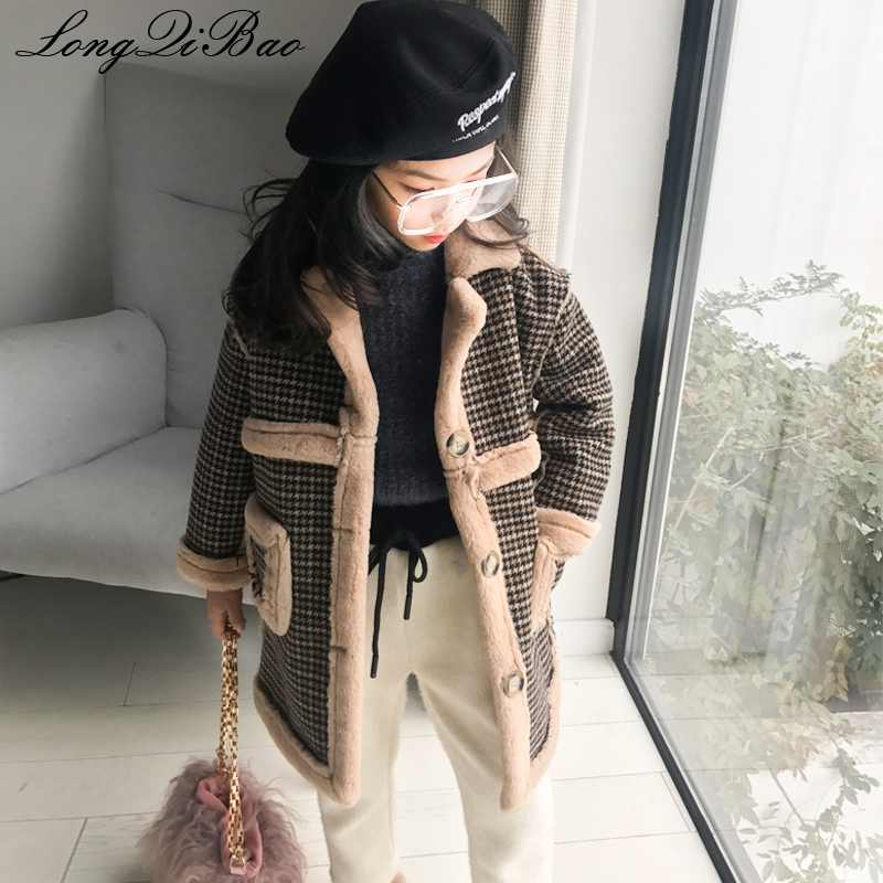 Baby girl plus velvet padded tartan coat 2018 autumn and winter new Korean children's clothing children's foreign wool coat tartan plaid longline coat