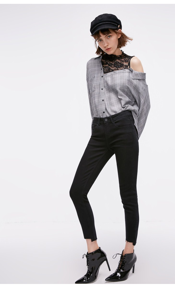 ONLY Women's autumn new low waist slim cropped jeans| 118349591 15