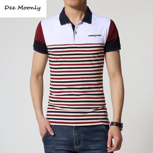 DEE MOONLY Letters Embroidered Men Strip Polo Shirt Turn-down Collar Casual Cotton Polo Shirt Red Gray Green Asian Size M-4XL