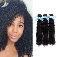 Sevengirls 10A Kinly Curly Natural Color 3Bundles Peruvian Virgin Hair 100% Human Hair Extension 10 30 Inch For Black Women