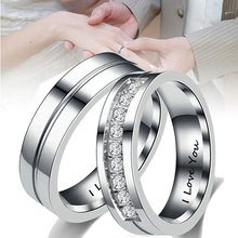 цены Stainless Steel Love Ring CZ Couple Rings Charming men's Women His &Hers I Love You wedding Rings assassins creed Wedding Bands