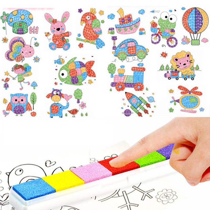 Hot Sale DIY 8Pcs Cartoon Kid Finger Painting Craft Set Children Colorful Fingerpaint Drawing Education Learning Picture Toy