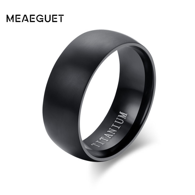 Meaeguet Fashion Mens Black Titanium Ring Matte Finished Classic