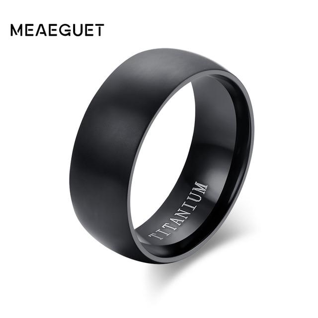 Meaeguet Fashion Mens Black Titanium Ring Matte Finished