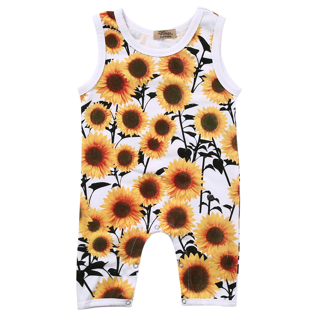 Cute Newborn Baby Clothes Sunflower Infant Bebes Girl Romper Sleeveless Toddler Kids Floral One Pieces Outfit Sunsuit cute newborn baby girls clothes floral infant bebes romper cotton jumpsuit one pieces outfit sunsuit 0 18m