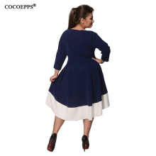 6XL Large Size Female dresses New Autumn Patchwork plus size women clothing Elegant Evening Vestidos